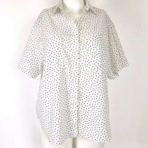 Maggie Sweet (14) VINTAGE White Heart Print Top